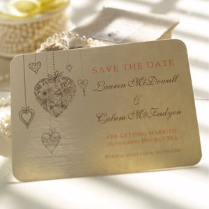 'Hanging Hearts' Save The Date Cards