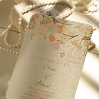 Hanging Vintage Birdcages Save The Date Cards