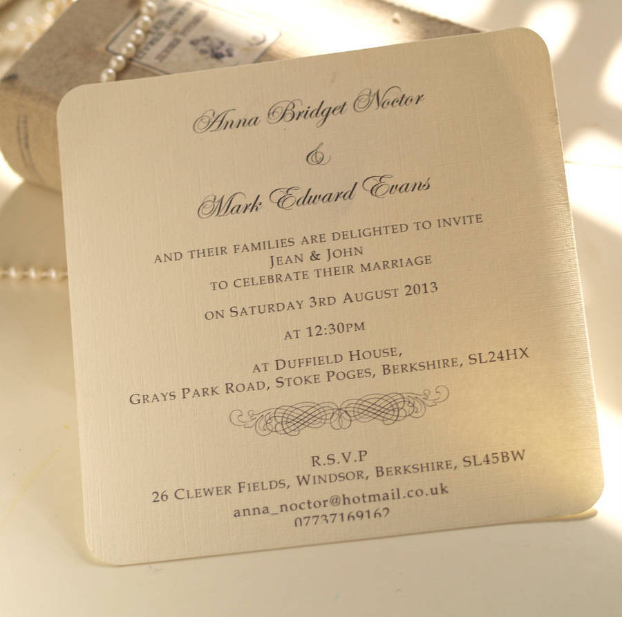 sister wedding invitation card wordings%0A Classic Personalised Wedding Invitation