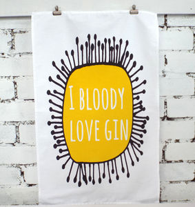 'I Bloody Love Gin' Tea Towel - kitchen linen