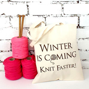 'Winter Knit Faster' Knitting Tote - knitting kits