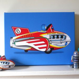 Rocket Racer Tin Toy Pop Art Print - modern & abstract