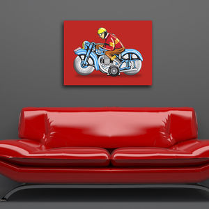 Hungarian Motorbike Tin Toy Pop Art Print - canvas prints & art for children