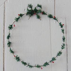 Fir And Red Berry Wreath - room decorations