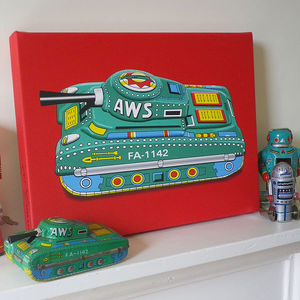 Tin Toy Tank Pop Art Print - modern & abstract