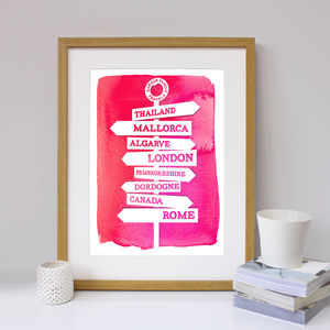 Personalised Travel Signpost Print - prints & art sale