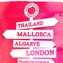 Personalised Travel Signpost Print - pink detail