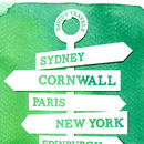 Personalised Travel Signpost Print - green detail