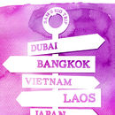 Personalised Travel Signpost Print - purple detail