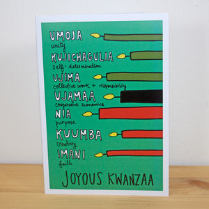 'Joyous Kwanzaa' A6 Greetings Card - cards