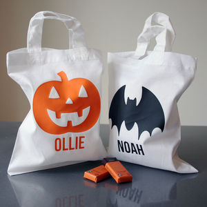 Personalised Halloween Cotton Treat Bag - trick or treat bags