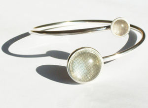 Silver Bangle With Textile And Fused Glass - bracelets & bangles