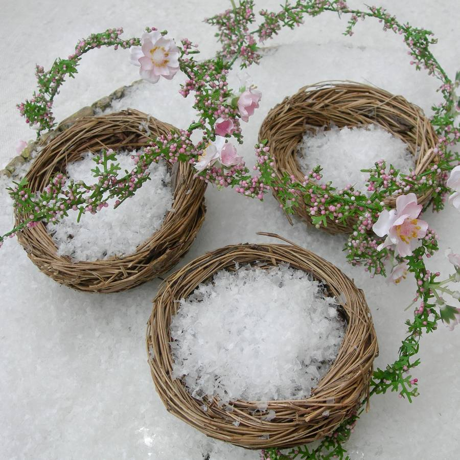 Set of three natural decorative birds nests by just add a for Artificial birds for decoration