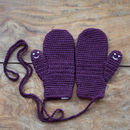 Plum Smiley Face Mittens