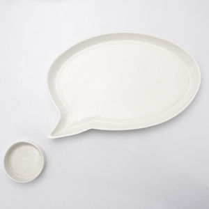 Porcelain Speech Bubble Plate And Dipping Bowl