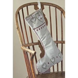 Linen Heart And Dove Stocking - stockings & sacks