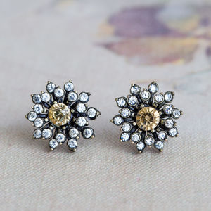 Anna Topaz Crystal Flower Earrings