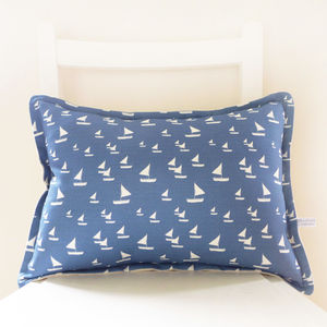 Oblong Sailboats Linen Cushion - living room