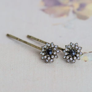 Anna Black Flower Hair Slides - wedding fashion