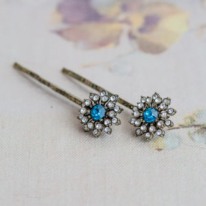 Anna Blue Flower Hair Slides - weddings