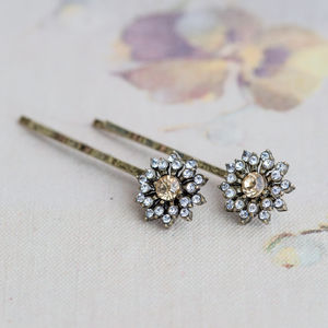 Anna Topaz Flower Hair Slides