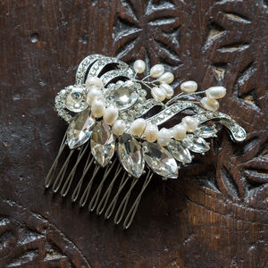 Marie Crystal And Pearl Hair Comb - wedding fashion