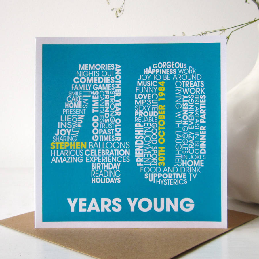 personalised 40th birthday card by mrs l cards