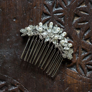 Bette Crystal And Pearl Hair Comb