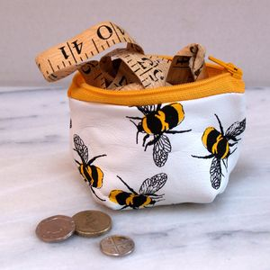 Small Leather Coin Purse With Bees