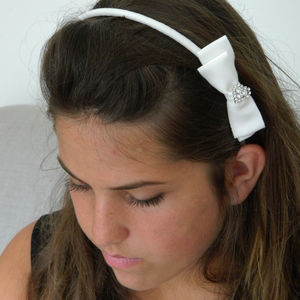 Ivory Cotton Petersham Bow And Sparkling Heart Headband - hair accessories