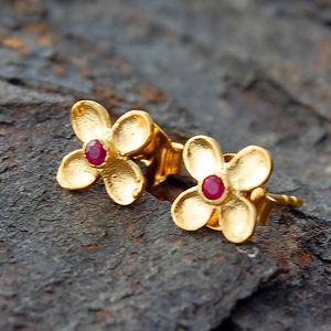 Gold And Red Sapphire Clover Stud Earrings - earrings