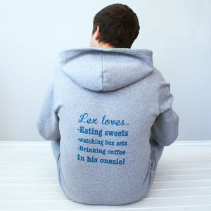 Personalised Mens 'My Favourite Things' Onesie - lounge & activewear