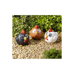 Three Bright Eye Happy Hens Solar Lights - art & decorations