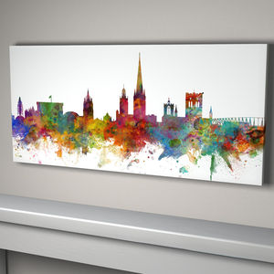 Norwich City Skyline Print - maps & locations