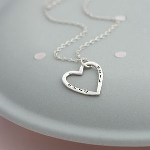 Personalised Small Open Heart Necklace - necklaces & pendants