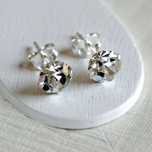 Sterling Silver Diamante Stud Earrings - earrings