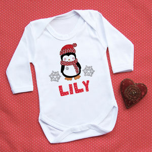 Personalised 'First Christmas' Penguin Vest - babygrows