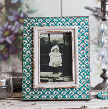 Aqua Print Wooden Photo Frame