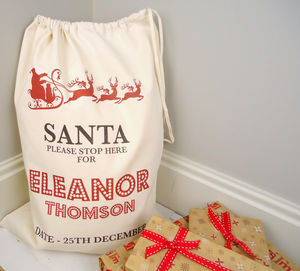 Santa Please Stop Here Christmas Sack - stockings & sacks