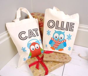 Personalised Mini Christmas Owl Tote Bag