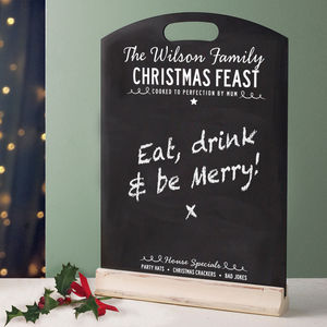 Personalised Christmas Chalkboard Menu - view all decorations