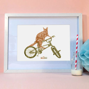 'The Walla Bmx' Signed Bicycle Art Print - pictures & prints for children