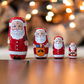 Set Of Four Santa Russian Dolls