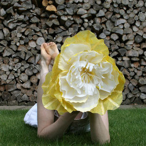 Oversized Yellow Paper Flower - room decorations