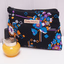 Make Up Bag Vintage Black Abstract Floral