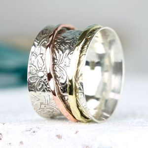 Decorative Mixed Metal Spinning Ring - rings