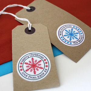 20 Personalised Snowflake Vinyl Stickers - cards & wrap