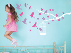 Branch And Birdcage Wall Stickers - children's room
