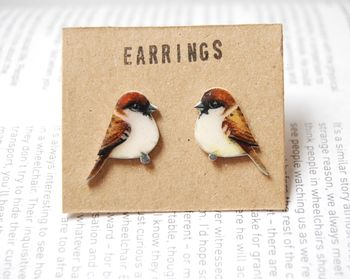 Hand Drawn Sparrow Earrings