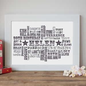 Personalised Birthday Typographic Art Print - best for birthdays